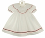 NEW Sundae Afternoon White Cotton Dress with Monogrammable Portrait Collar and Red Rick Rack Trim
