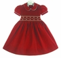 NEW Marco & Lizzy Red Pinwale Corduroy Smocked Dress with Embroidered Flowers