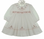NEW Sarah Louise White Smocked Dress with Red and Pink Beaded and Embroidered Flowers