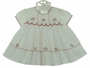 NEW Sarah Louise White Smocked Dress with Red Embroidery