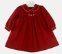 NEW Petit Ami Red Corduroy Dress with White Trimmed Collar and Matching Diaper Cover