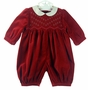 "<img src=""http://site.grammies-attic.com/images/blue-sold-1.gif"">  Sophie Dess Red Velvet Smocked Bubble with Ivory Silk Collar"