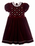 NEW Will'Beth Burgundy Velvet Dress with Ivory Crocheted Lace Trim