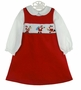 "<img src=""http://site.grammies-attic.com/images/blue-sold-1.gif""> NEW Rare Editions Red Smocked Pinwale Corduroy Jumper Set with Santa Embroidery"