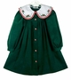 NEW Rare Editions Green Corduroy Dress with Holiday Embroidered Collar