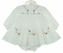 NEW Sarah Louise White Voile Smocked Dress with Pintucks and Red Rosebuds