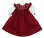 "<img src=""http://site.grammies-attic.com/images/blue-sold-1.gif""> NEW Will'Beth White Slip Dress and Dark Red Smocked Pinafore"