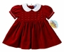 NEW Carriage Boutiques Red Velvet Short Sleeved Dress with Seed Pearls
