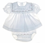 NEW Alexis White Diaper Set with Lace Ruffles and Pink and White Embroidery