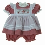 "<img src=""http://site.grammies-attic.com/images/blue-sold-1.gif""> NEW Will'beth Red Checked Pinafore Style Pantaloon Set with Holiday Embroidery"