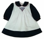"<img src=""http://site.grammies-attic.com/images/blue-sold-1.gif""> NEW Willbeth Navy and White Dress with White Smocked Pinafore"