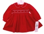 NEW Rare Editions Red Corduroy Smocked Dress with White Trim for Babies and Big Sisters