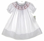 NEW Rosalina White Bishop Smocked Dress with Candy Cane Embroidery