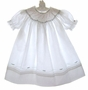 NEW Feltman Brothers White Bishop Smocked Dress with Embroidered Red Rosebuds