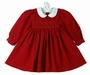 NEW Red Smocked Pincord Cotton Dress with White Collar