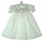 "<img src=""http://site.grammies-attic.com/images/blue-sold-1.gif"">  NEW White Hand Smocked Gown with Red Heart Embroidery"