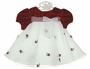 NEW Rare Editions Red Velvet and White Organdy Dress with Rosebuds and Organdy Bow for Babies and Big Girls