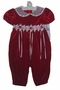 NEW Rare Editions Red Velvet Bubble with Organdy Collar and Rosebud Trim