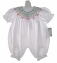 "<img src=""http://site.grammies-attic.com/images/blue-sold-1.gif""> NEW Rosalina White Bubble with Red and Green Smocking"