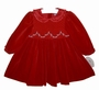NEW Carriage Boutiques Red Velvet Smocked Dress with Satin Ruffled Collar