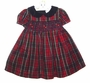 "<img src=""http://site.grammies-attic.com/images/blue-sold-1.gif""> NEW Rare Editions Red Plaid Smocked Dress with Blue Velvet Collar"