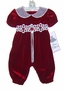 "<img src=""http://site.grammies-attic.com/images/blue-sold-1.gif""> NEW Rare Editions Red Velvet  Bubble with Venice Lace Trim"