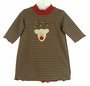 NEW Bailey Boys Red and Green Striped Gown with Reindeer Applique