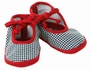 NEW Black Checked Baby Shoes with Red Trim