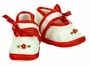 NEW Ivory Baby Shoes with Red Embroidery and Red Satin Trim