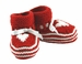 "<img src=""http://site.grammies-attic.com/images/blue-sold-1.gif""> NEW Red Striped Hand Knit Booties with Hearts"