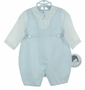 NEW Sarah Louise Blue and White Shortall with Pintucks and Fagoted Collar and Matching Hat
