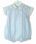 NEW Will'Beth Pale Blue Romper with Airplane Embroidery and Matching Hat