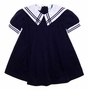Vintage Little Bitty Navy Pleated Sailor Dress with White Collar