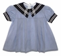 Vintage Blue Pinstriped Sailor Dress with Navy Collar for Babies, Toddlers, and Little Girls