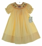NEW Rosalina Yellow Checked Bishop Smocked Dress with Schoolbus Embroidery