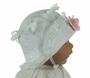 NEW White Eyelet Bonnet with Pink Flower Trimmed Turned Back Brim