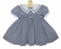 NEW Rare Editions Navy Checked Seersucker Smocked Sailor Dress