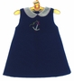 NEW Petit Ami Navy Sleeveless Sailor Dress with Embroidered Anchor