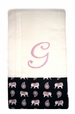 """<img src=""""http://site.grammies-attic.com/images/blue-sold-1.gif""""> NEW Custom Monogrammed Baby Burp Cloth with Pink Elephant Fabric Trim"""