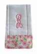 """<img src=""""http://site.grammies-attic.com/images/blue-sold-1.gif""""> NEW Custom Monogrammed Baby Burp Cloth with Lilly Flower Fabric Trim"""