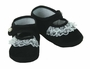 NEW Black Velvet Baby Shoes with Lace Trim and Pearl Button