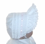 NEW White Pintucked Bonnet with Eyelet Trim and Pink Satin Ribbon