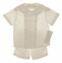 NEW Chabre Double Breasted Ivory Linen Shorts Set