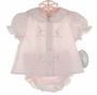 "<img src=""http://site.grammies-attic.com/images/blue-sold-1.gif""> NEW Rosalina Pink Diaper Set with Bunny Embroidery"