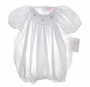 NEW Petit Ami White Bishop Smocked Bubble with Matching Bonnet
