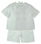 NEW Gordon and Company Pearl White Silk Sailor Shorts Set
