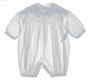 NEW Sophie Dess White Pique Long Sleeved Smocked Romper