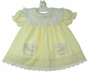 "<img src=""http://site.grammies-attic.com/images/blue-sold-1.gif""> Vintage Yellow Dress with Embroidered Baby Birds"