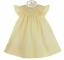 NEW Le' Za Me Butter Yellow Bishop Smocked Angel Sleeved Dress with Embroidered Rosebuds