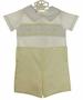 NEW  Butter Yellow and White Smocked Button On Shorts Set with Geometric Embroidery